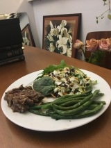 Steak with Mushrooms, Green Beans, & Cabbage Salad